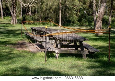 Sydney, Australia 2020-05-09 National Park Picnic Area Closed Due To Coronavirus Pandemic By Nationa