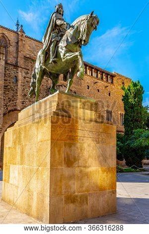 Barcelona, Spain - November 07 2018: Equestrian Statue Of Ramon Berenguer Iii By Frederic Marès (195