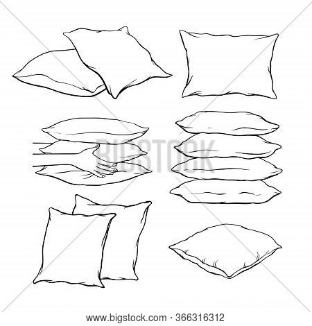 Set Of Blank Hand-drawn Sketch Style Pillows - One, Two, Stack Of Four, Hand Holding Pile Of Three P