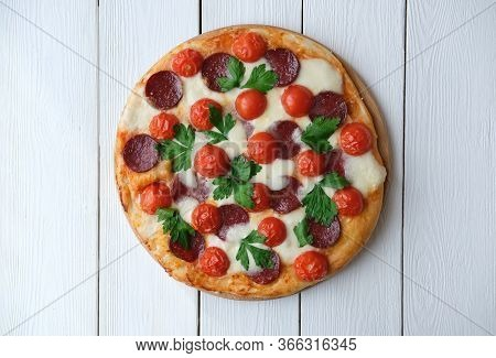Italian Pizza Restaurant Menu. Pepperoni Pizza With Mozzarella Cheese, Salami, Cherry Tomatoes And C
