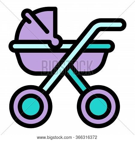 Family Baby Pram Icon. Outline Family Baby Pram Vector Icon For Web Design Isolated On White Backgro