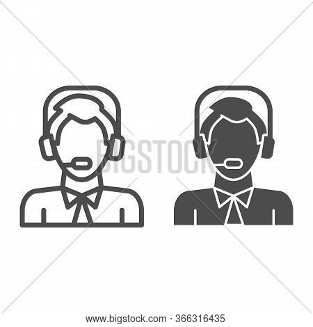 Man With Headphones And Microphone Line And Solid Icon, Logistic And Delivery Symbol, Logistics Cust