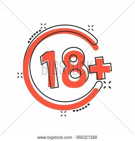 Eighteen Plus Icon In Comic Style. 18 Plus Cartoon Vector Illustration On White Isolated Background.