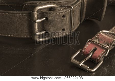 Close-up Of Very Old Genuine Leather Collars On A Dark Table.