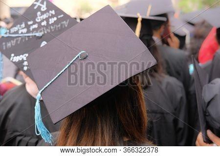 Shot Of Graduation Hats During Commencement Success Graduates.