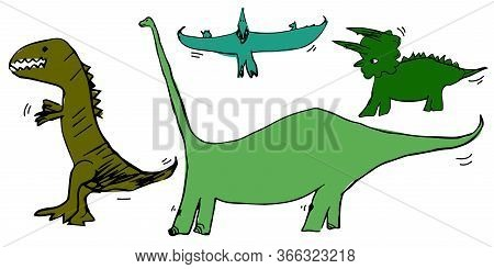 Set Of Dinosaurs Pterodactyl, Tyrannosaurus, Triceratops, Diplodocus. Vector Illustration For Banner