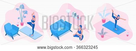 Isometric Vector Illustrations Of A Yoga Girl In A Tree, Dancer Or Lotus Pose, Exercise At Home