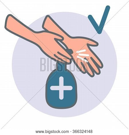 Close-up Hands Using Antiseptic. Concept Measure To Prevent Coronavirus Spreading During Quarantine