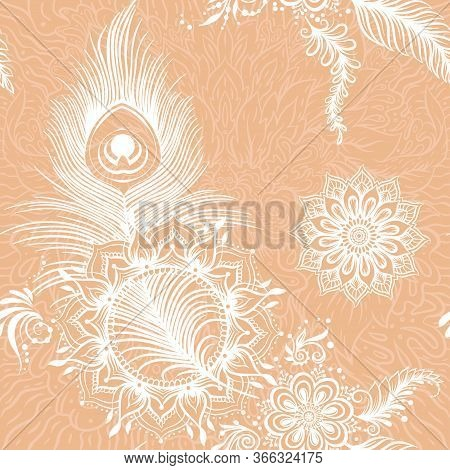 Peacock Feathers In Eastern Ethnic Style, Mehendi, Traditional Indian White Henna Floral Ornament. S