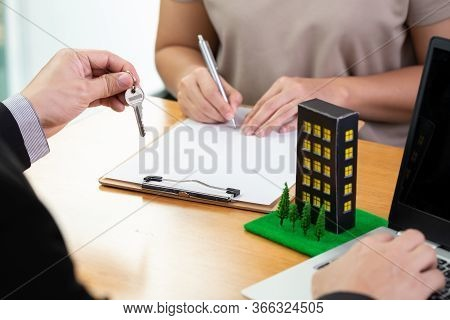 Banks Approve Loans To Buy Condominium And Customer Is Signing The Contract. Mortgage Home And Real