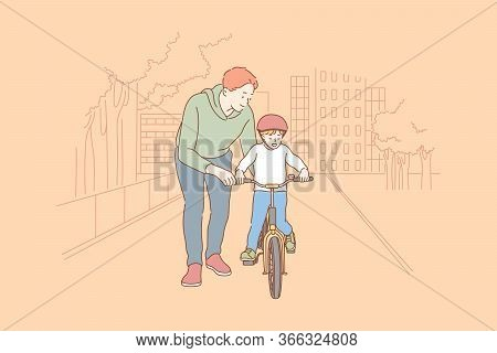 Fatherhood, Cycling, Childhood, Training Concept. Cartoon Characters Young Man Father Teaching Boy K