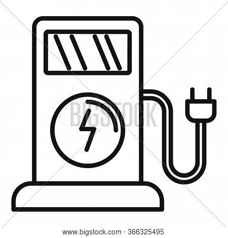 Electric Filling Station Icon. Outline Electric Filling Station Vector Icon For Web Design Isolated