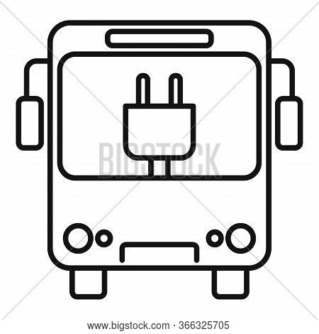 City Eletrical Bus Icon. Outline City Eletrical Bus Vector Icon For Web Design Isolated On White Bac