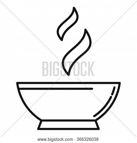 Hot Cooked Bowl Icon. Outline Hot Cooked Bowl Vector Icon For Web Design Isolated On White Backgroun