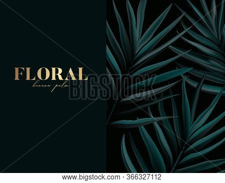 Wild Macro Palm Pattern Design With Gold Letters Art. Trendy Presentation Notebook Cover. Simple Wat