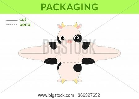 Adorable Diy Party Favor Box For Birthdays, Baby Showers With Cute Cow For Sweets, Candies, Small Pr