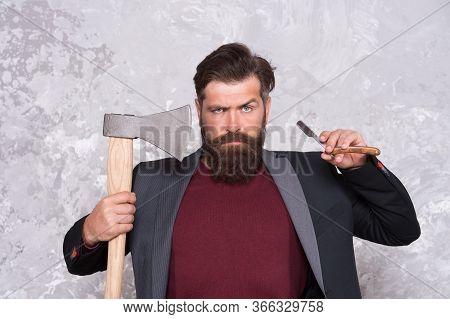 Brutal Methods. Old Weapon. Barbershop Hairstyle. Brutal Barber. Daring Barber Concept. Man Hipster