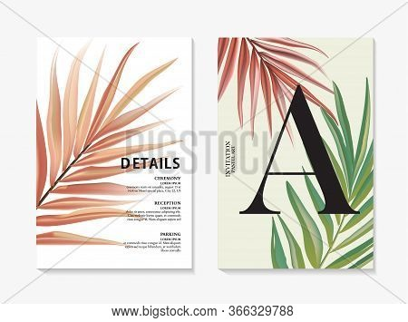 Modern Floral Pal Design Template. Advertising Card With Banana Leaves Macro Pattern. Trendy Vector