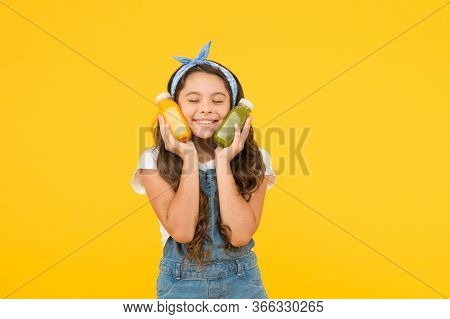 Fresh Smoothie. Girl Drinking Orange Fresh Juice Smoothie. Vegetarian Concept. Hand Crafted Smoothie