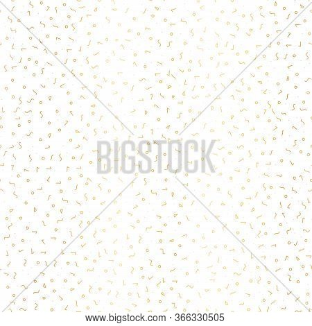 Gold Foil Memphis Style Doodle Vector Pattern With Different Hand Drawn Shapes. Seamless Background