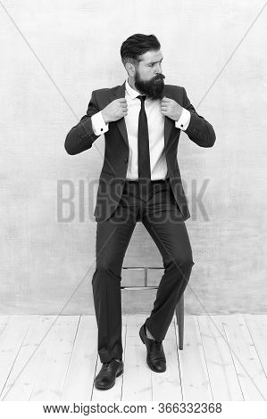Perfect Style For Busy Professional. Businessman Wear Elegant Formal Style. Bearded Man With Stylish