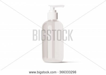 Hand Antibacterial Sanitizer Dispenser Pump. Cosmetic Bottle With Dispenser Liquid Container For Gel