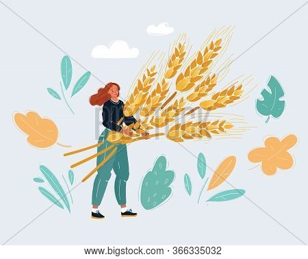Vector Illustration Of Woman With Big Sheaf Of Wheat.