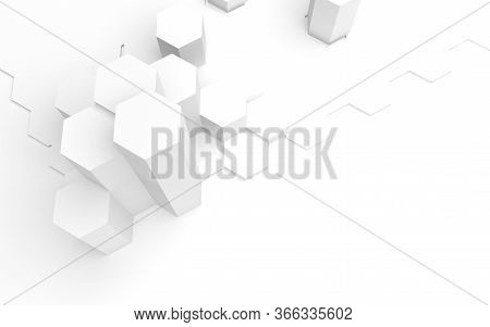 White Abstract Background With Honeycomb. Hexagon Bars Isolated On White Backdrop. 3d Illustration