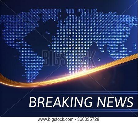 Breaking News Vector Background With Golden Wavy Line. Eps10