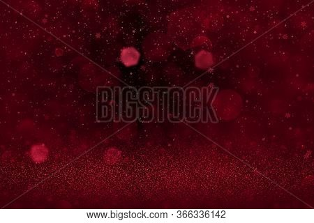 Red Nice Brilliant Abstract Background Glitter Lights And Falling Snow Flakes Fly Defocused Bokeh -