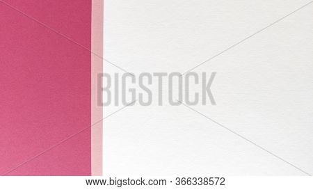 Simple Flat Lay With Pastel Texture. Pink And White Paper Background. Stock Photo.