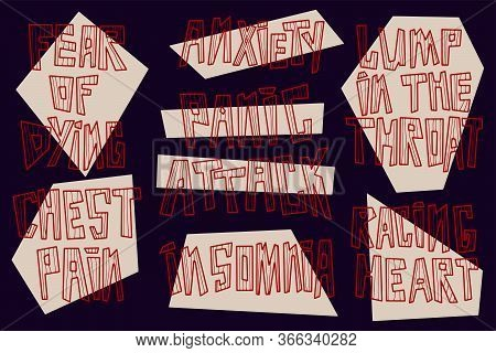 Panic Attack Vector Lettering. Hand Drawn Psychological Symptoms. Anxiety, Insomnia, Chest Pain, Rac