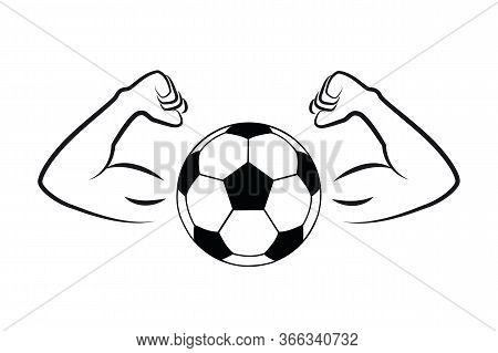 Strong Football Soccer With Muscular Arms Vector Illustration Eps10