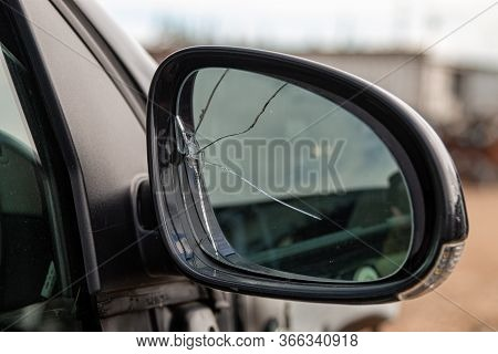 Car With Broken Side Door Mirror. Car Accident