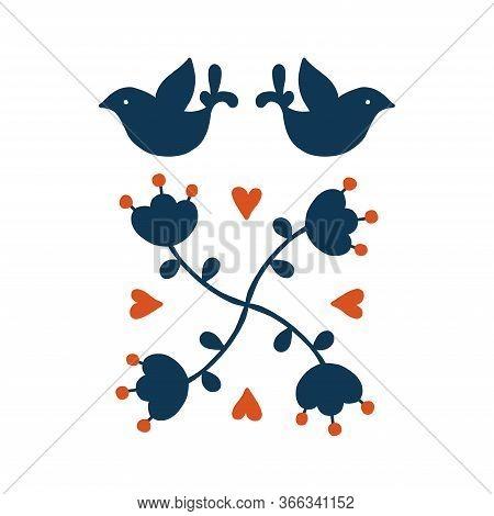 Folk Art Vector Decorative Frame With Birds And Flowers, Scandinavian Design. Flower Arrangement.ret