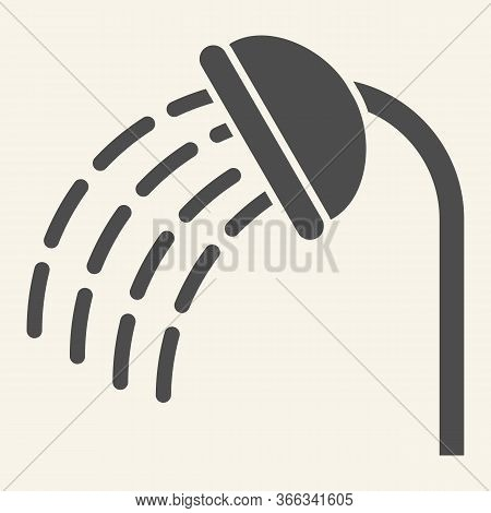 Shower Solid Icon. Shower Head With Water Drops Symbol, Glyph Style Pictogram On Beige Background. S