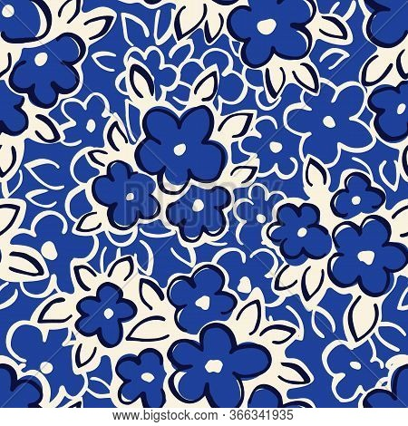 Hand Drawn Artistic Naive Daisy Flowers On Blue Background Vector Seamless Pattern. Blob Blooms, Blo