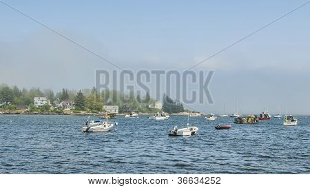 Diversity Of Boats In Muscongus Bay Maine