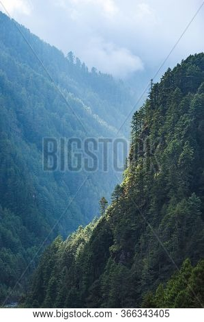 Mountain Forest In Nepal. View From The Hillary Bridge