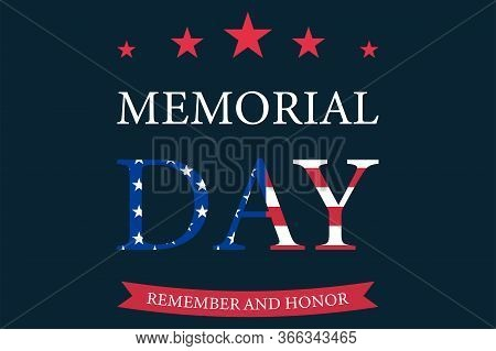 Memorial Day Banner With Stars And Lines. Celebration Of Military Holiday. American National Symbol.