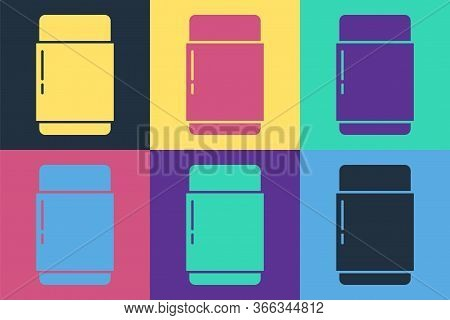 Pop Art Eraser Or Rubber Icon Isolated On Color Background. Vector