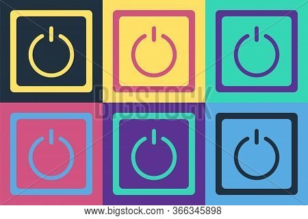 Pop Art Electric Light Switch Icon Isolated On Color Background. On And Off Icon. Dimmer Light Switc