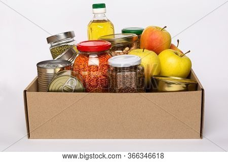 Donation Box With Various Food On Whiite Background. Food Delivery, Online Shopping, Box With Produc