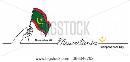 Mauritania Independence Day Vector Flag Background. One Continuous Line Drawing Concept With Hand, M