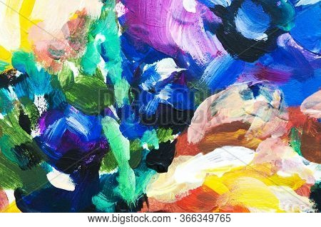 Hand Painted Modern Style Flowers. Brushstrokes Of Paint. Abstract Art Background. - Image