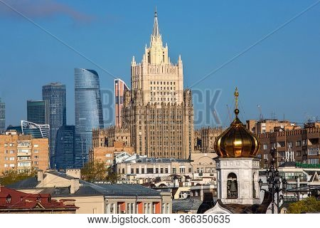 Moscow, May 2020. Architectural Mixing Of Styles In Moscow. View From The Patriarchal Bridge. Stalin