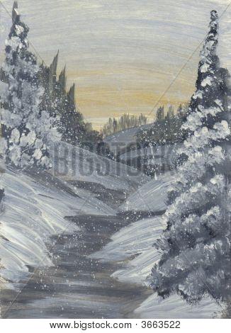 Painting Winter Sunset