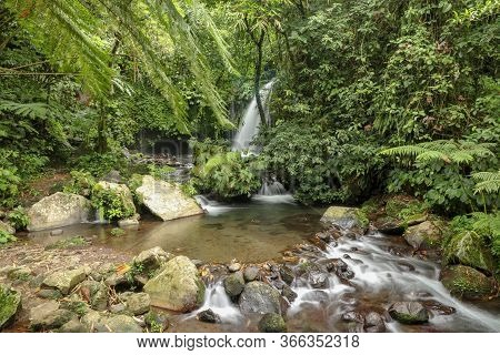 Yeh Ho Waterfall Is Located In The Lush Rice Field-laden Penebel