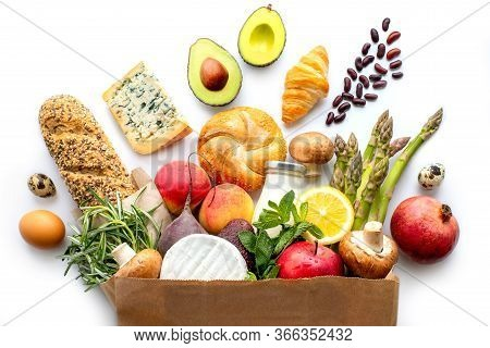 Paper Bag With Healthy Food. Vegetarian Food. Healthy Food Background. Supermarket Food Concept. Asp