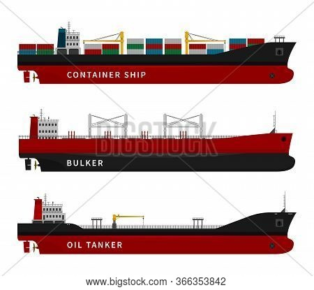 Black Red Oil Tanker, Container Ship, Bulker Isolated. Vector Illustration Set, Nautical Vessel Floa